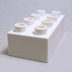 画像1: 301101【White】デュプロ 2x4ブリック 1個