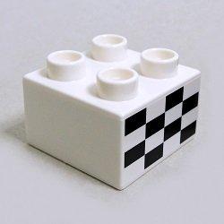 画像1: 6101162【White】デュプロ 2x2ブリック(チェッカーフラッグ柄) 1個